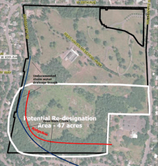 Planning Department's satellite view of the Rest Haven parcel, showing the portion being considered for redesignation