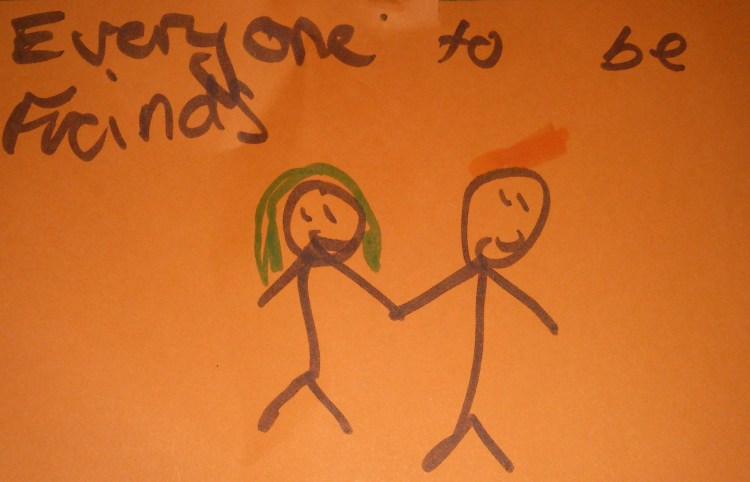 Children's drawing of people being friends