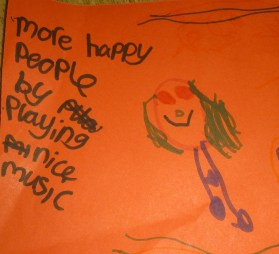 Children's drawing about people in the community enjoying music
