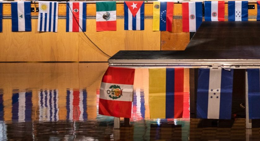 Flags from serveral Latin American countries displayed on the stage during LAC Night last year. Saturday, February 13, 2021 (Photo by: Xander Ordinola)