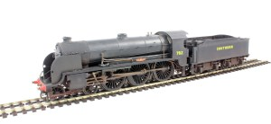 """A Hornby N15 (repainted) Note the 6'7"""" driving wheels and spacing"""