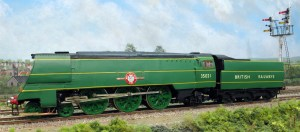 35021 once paired to her 6000 gallon tender in lined malachite green with lettering in British Railways Gills Sans.