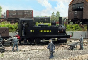My kit built Adams B4 is seen on Fisherton Sarum. No. 100 kept its stovepipe chimney for quite some time.