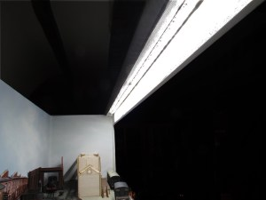 A view from the inside of Canute Road Quay with the LED strip installed in the underside of the pelmet