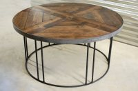 Legend Round Wood Industrial Coffee Table  Southern Sunshine