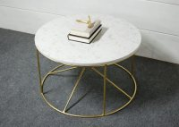 Calypso Round White Marble Coffee Table  Southern Sunshine