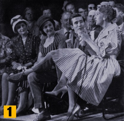 """Jim Dale and Janie Marden with some of the audience at the Lunchtime show, """"Take it easy""""."""