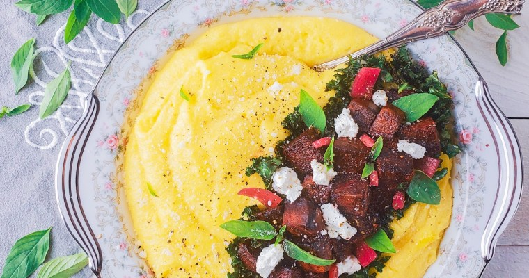 Cheesy Polenta Recipe with Roasted Beets