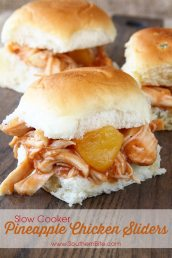 These Slow Cooker Pineapple Chicken Sliders are even more delicious than they are easy! Only 5 ingredients!