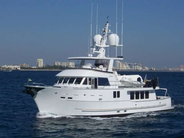 Off-Line is an 84′ Northern Marine Expedition vessel that is the pride and joy of Samantha and Roger Moore.
