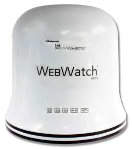 Shakespeare's WebWatch dome system combines Wi-Fi, cellular and HDTV.