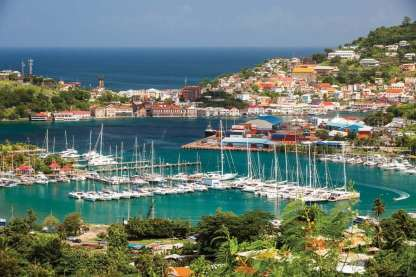 C&N's Port Louis Marina boasts the vibrant colors the islands are famous for. Photo: Camper & Nicholsons International