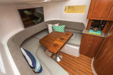 Overnight accommodations below deck offer sleeping for two in a queen-size berth that converts to an eating area.