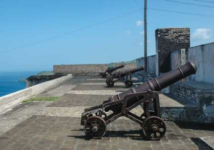 Cannons watch over the walls of Fort Charlotte constructed in 1806, which has spectacular views overlooking Kingstown and is always worth a visit.