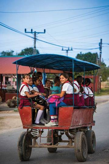 Children on their way to school near the Bay of Pigs;