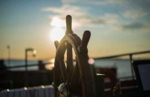 An image the helm for Safe boating quiz during Safe Boating Week
