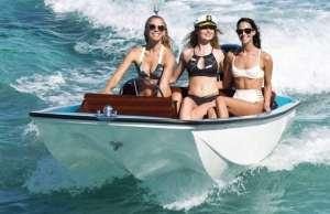 our models take a cruise on a Metan 13 wearing their polarized sunglasses Floats Eye Wear ©Jim Raycroft