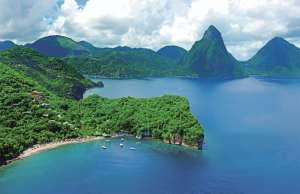 This is an image of Anse Chastanet beach in Saint Lucia.