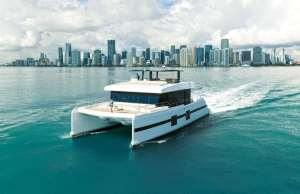 An image of Sunreef Supreme 68 cruising through Miami.