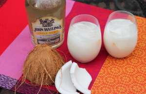 An image Bahamian Sky Juice, a classic drink in the islands