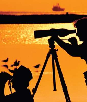 This is an image of two people birding