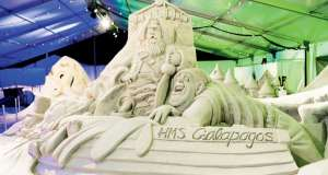 This is an image of a sculpture that was built during the Pier 60 Sugar Sand Festival.