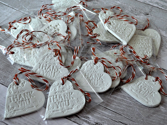 clay tag wedding favours