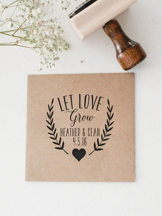 let love grow rubber stamp for wedding favor