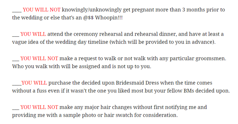 Bridesmaid Contracts  A Step Too Far  Southern Bride
