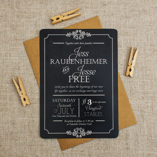 rustic wedding invitation - blackboard themed wedding