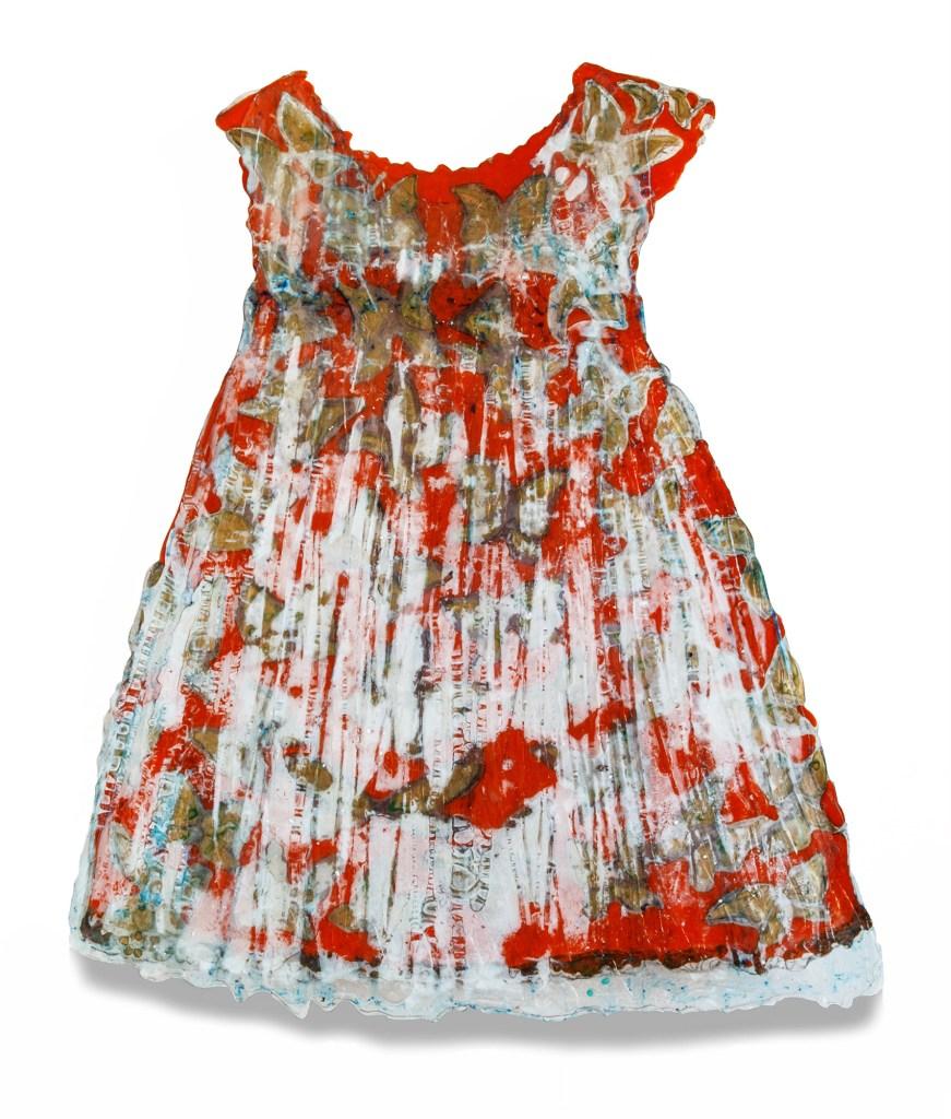 Karen Feuer Schwager - Red- Dress with Gold Butterflies