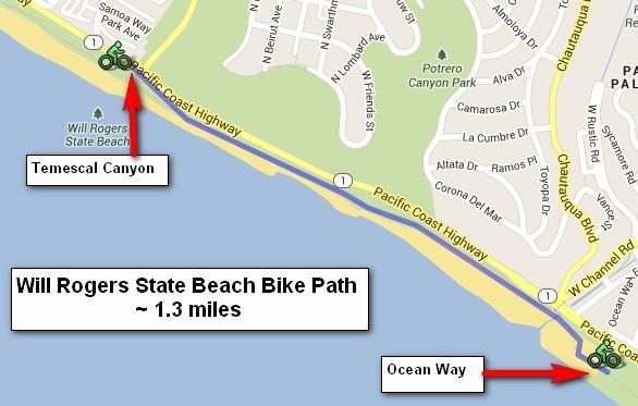 Map Bike Path Will Rogers Beach