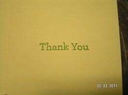 "Inside of Martha Stewart embossed ""tree"" thank you card"