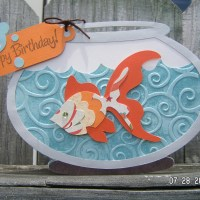 "Have a ""Fin-tastic"" Birthday - Fish Bowl Shape Card"