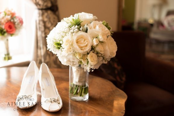 White on White Bridal Bouquet and Heels