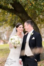 Macon Bride and Groom In Garden -White Bouquet