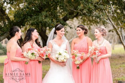 Macon Georgia Atcheson Bridal Party - With and Peach Bouquet