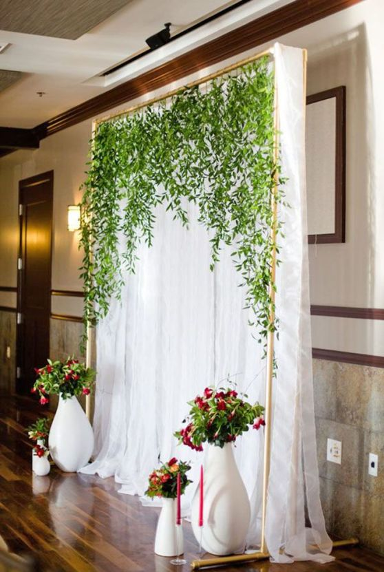 Wedding Ceremony Draping with Green Backdrop