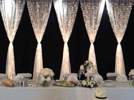 Wedding Drapery and Twinkle Lights