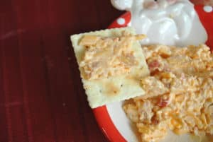 Pimento Cheese on Saltine Cracker