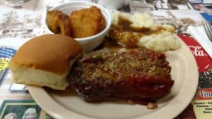 Meatloaf, Mashed potatoes, and fried squash from Kinch's Restaurant