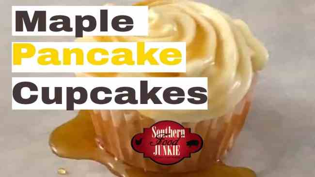 Maple Pancake Cupcakes, Pancake batter poured into cupcake shells and topped with a maple cream cheese icing.