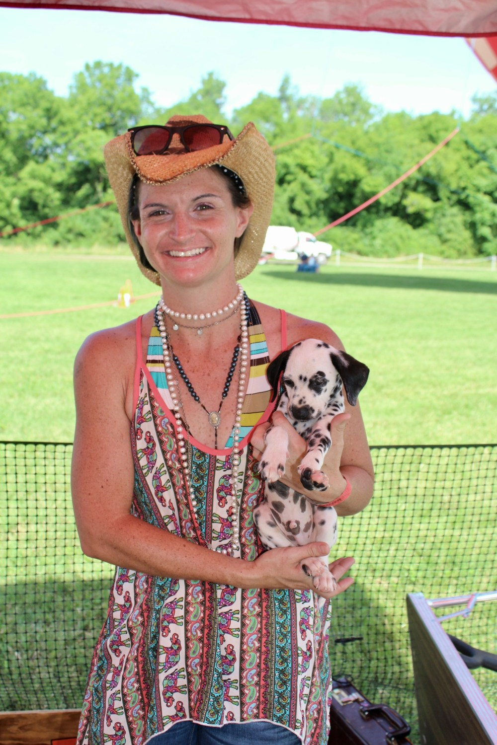 Lady with Dalmation puppy at Victory Cup Nashville