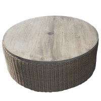 Southern Home | 42 Round Woven Ottoman Coffee Table