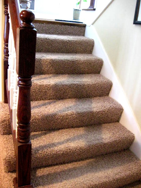 Let Me Remind You What The Stairs Looked Like BEFORE, Matted Ugly Carpet  That Was Wrapped Around Those Ends Of The Stairs On The Left, Like A Furry  Little ...