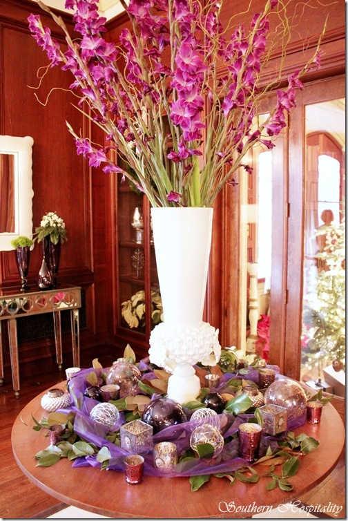 Library purple centerpiece