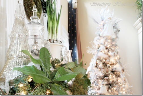 mantel and white tree