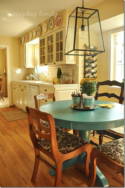 blue table kitchen