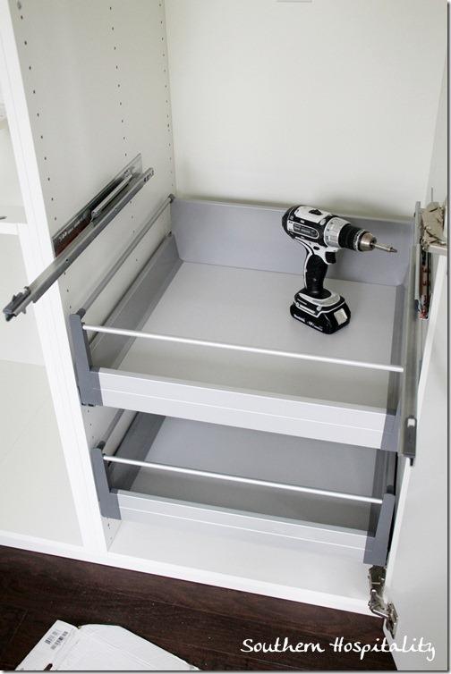 adding shelves to Ikea cabinets