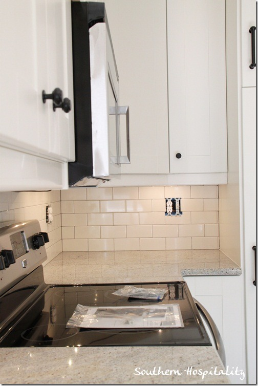 white tile backsplash kitchen island cover subway with gray grout